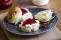 Scones fresh homemade with clotted cream and jam Royalty Free Stock Photography