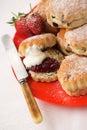 Scones & strawberry jam with cream Royalty Free Stock Photo