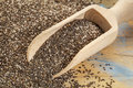 Scoop of chia seeds background and on wooden surface Royalty Free Stock Photo
