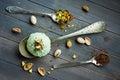 Scoop of homemade pistachio ice cream Royalty Free Stock Photo
