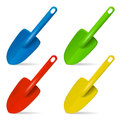Scoop. Plastic toy for playing in sand. Set of multicolored  objects on white background. Vector illustration. Royalty Free Stock Photo