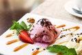 Scoop of strawberry ice cream Royalty Free Stock Photo