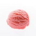 Scoop of strawberry ice cream on white background. Royalty Free Stock Photo