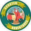 Scooter emblem round inside the in nature background Stock Photos