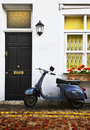 Scooter in London Mews Stock Image