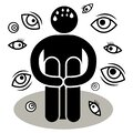 Scopophobia or scoptophobia. A man is afraid of being seen or stared at by others. Eyes Many Views. Silhouette Afraided man. Can