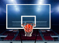 Score in basketball ball in the hoop Stock Photos