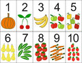 Score of one to ten located next the desired quantity fruit or vegetables preschool education Stock Photography
