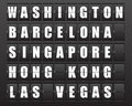 Scoreboard flight destination information display board named world cities washington barcelona ​​singapore hong kong las Royalty Free Stock Photos