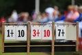 Scoreboard at lawn bowls