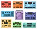 Scoreboard vector digital score board display football soccer sport team match competition on stadium illustration set