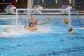Scoring a goal during water polo match toni josef nemet player of hungary national team to dragos stoenescu goalkeeper of romania Royalty Free Stock Photo