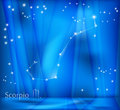 Scorpio zodiac background bright stars in cosmos and sign Royalty Free Stock Photos