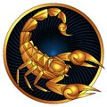 Scorpio golden zodiac sign vector horoscope symbol