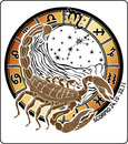 Scorpio zodiac sign.Horoscope circle Royalty Free Stock Photo