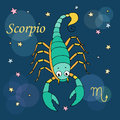 Scorpio zodiac sign on night sky background with stars