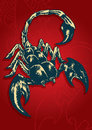 Scorpion vector abstract illustration of red background and feels dangerous Royalty Free Stock Photos