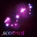 Scorpius zodiac sign of the beautiful bright stars on background cosmic sky Royalty Free Stock Images