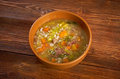 Scotch broth soup farmhouse kitchen old fashioned thrifty made from meat on the bon Stock Photos