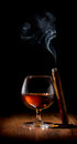 Scotch and cigar wineglass of on wooden table Royalty Free Stock Images