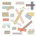 Scotch, color patterned adhesive tape collection, different size pieces isolated on white background. Vector set of torn