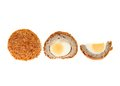 Scotch egg whole and cut isolated against white Royalty Free Stock Photo