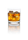 Scotch on the rocks smokey whiskey with a nice refection isolated white with clipping path Stock Image