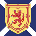 Scotland coat of arms and flag Royalty Free Stock Photo