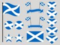 Scotland flag set. Collection of symbols heart and circle. Vector Royalty Free Stock Photo