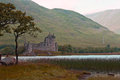Scotland kilchurn castle loch awe with Royalty Free Stock Image