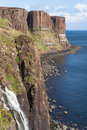 Scotland-The Kilt Rock Cliffs on Isle of Skye Stock Photos
