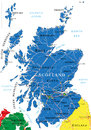 Scotland map highly detailed vector of with administrative regions main cities and roads Stock Photography