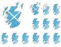Scotland provinces maps a set of icons Royalty Free Stock Photography