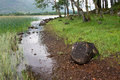 Scotland riverside loch awe near kilchurn castle Royalty Free Stock Photos