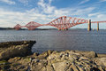 Scotland south queensferry forth railway bridge in Royalty Free Stock Photography