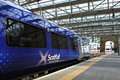 Scotrail glasgow scotland uk july a train at the platform at queen street station in glasgow glasgow central station was opened on Royalty Free Stock Image