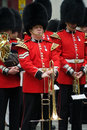 Scots guards bandsmen members of the illustrious band mark their respect at lady thatcher s funeral Stock Photography