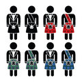 Scotsman, man wearing kilt  icons set Royalty Free Stock Photo