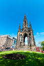 Scott monument in edinburgh the on s princes street with a curving stairway the foreground Stock Photos