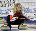 Scotties curling jennifer jones yells Royalty Free Stock Photography