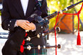 Scottish Bagpipe Player Stock Image