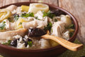 Scottish chicken soup with leeks and prunes macro. Horizontal Royalty Free Stock Photo