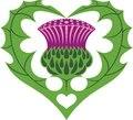 Scottish heart thistle tattoo symbol cute Royalty Free Stock Image