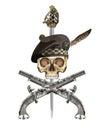 Scottish Highland backsword, two Scottish flintlock pistol and skull in the Scottish balmoral bonnet
