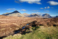 Scottish highlands and small stream on the foreground in spring time isle of skye scotland uk Royalty Free Stock Images