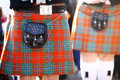 Scottish kilt color detail of a traditional with a bag Royalty Free Stock Photography