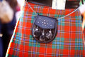 Scottish kilt color detail of a traditional with a bag Stock Photography
