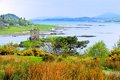 Scottish landscape with castle view of the lochs of scotland stalker Royalty Free Stock Photos