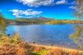 Škótsky jazero škótsko spojené kráľovstvo západ z na87 juh z pevnosť farebný obrázok s vysokým dynamickým rozsahom