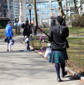 Scottish musician after parade takes air in central park new york Stock Photography
